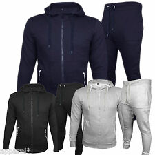 New Mens Full Tracksuit Trousers Pants Black Hooded Top Bottoms Slim Fitted Suit