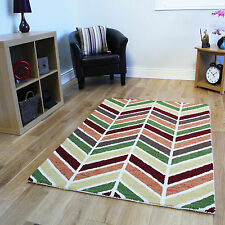 Small Large Modern Soft Thick Wool Rugs Multi Coloured Chevron Living Room Rugs