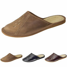 New Mens Genuine Leather Slippers Shoes Mules, Hand Made, Various Colours FP458