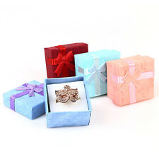 New Paper Square Bowknot Ring Earring Necklace Jewelry Gift Box Case Display