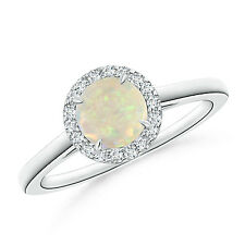 Cathedral Round Natural White Opal Diamond Halo Ring 14k Gold / Platinum Size 6