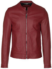 Dolce & Gabbana Men's Red 100% Lamb Leather Perforated Zip Up Bomber Jacket