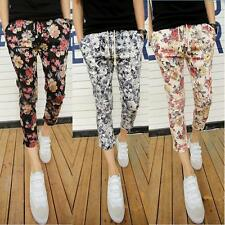 Mens Floral Printed Slim fit Pencil Summer Stylish Trousers Casual Ninth Pants #