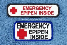 1 EMERGENCY EPIPEN INSIDE SERVICE DOG PATCH 1X4 1.5X3 Danny & LuAnns Embroidery