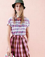 J Crew Midi Oversized Gingham Skirt Fuchsia 00 0 2 4  SOLD OUT!! So Pretty!