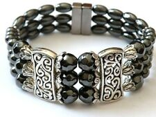 Women's Powerful Magnetic Hematite Tibetan Silver Bracelet 3 Row Magnetic Clasp