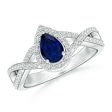 Natural Pear Blue Sapphire Diamond Halo Engagement Ring 14k White Gold Size 3-13