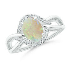 Oval Shape Opal Split Shank Ring with Diamond 14k White Gold/ Platinum Size 3-13