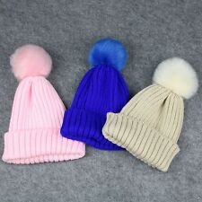 Winter Warmer Baby Kids Children Wool Fur Crochet Knitted Hat Pompom Ball Cap