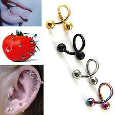 NS 2pcs Stainless Steel Spiral Ear Stud Lip  Eyebrow Ring Body Piercing Jewelry