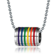 Rainbow Ring Necklace Stainless Steel Pendant LGBT Lesbian Gay Pride