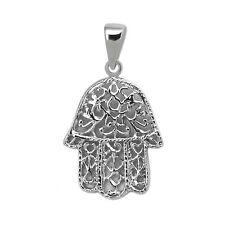925 Sterling Silver Filigree Open Hamsa Hand Pendant Charm Necklace