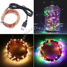 100 LED Fairy Lights -Copper Wire, Glimmer String, Indoor/Outdoor, USB 33 Ft/10M