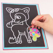 Children Kids Scratch Painting Paper Art Paper Two-in-one With Drawing Stick New