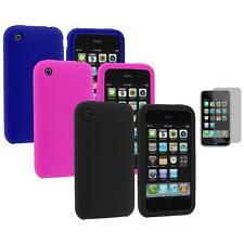 Color Silicone Rubber Gel Case Cover+Screen Protector for Apple iPhone 3G 3GS