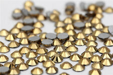 Crystal Glass 1440 Gold 1.4mm - 7.4mm 14 facets Round Rhinestone Flatback