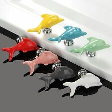 Fashion Dolphin Shape Ceramic Cabinet Knobs Kids Room Modern Drawer Pull Handles
