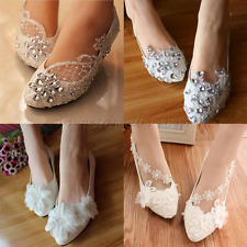 Lace White Crystal  Pearl Wedding Shoes Bridal Shoes Flats Large Size 5-9