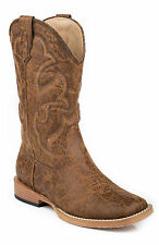 Roper Boots Youth Tan Faux Leather Square Toe Boys Cowboy