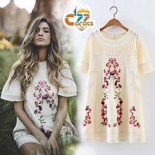 VTG 70s HIPPIE floral Embroidered Boho tunic ETHNIC mini PARTY Festival DRESS