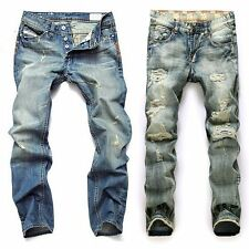 Men's Ripped Denim Jeans Destroyed Slim Trousers Skinny Holes Stylish Pants