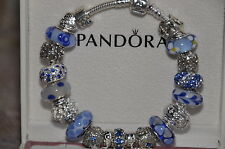 AUTHENTIC SILVER  PANDORA BRACELET with MURANO and Genuine sterling silver beads