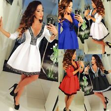 Women Summer Casual Sexy V Neck Floral Lace Crochet Skater Party Club Mini Dress