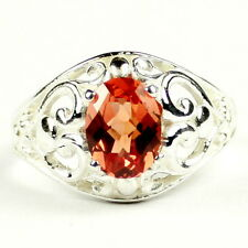 Created Padparadsha Sapphire, 925 Sterling Silver Ladies Ring, SR111-Handmade