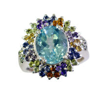 Blue Topaz Silver goodly supplies Ring Blue L-1in UK K,M,O,Q