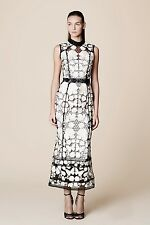 NWT Marchesa Notte Sleeveless Floral Black and White Dress in Guipure Lace