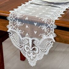Fashion Table Runner Decorative Lace Embroidered Hollow Out Cloth&Bed Flag White