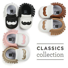 Funny Mustache Baby Infant Todder Crib First Shoes Soft Sole Newborn 0-18 Months