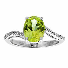 2.5 Ct Oval Natural Green Peridot .01 cttw Diamond 925 Sterling Silver Ring