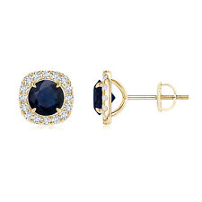 Vintage Style Natural Blue Sapphire Diamond Halo Stud Earrings 14K Yellow Gold