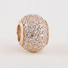 New authentic sterling-silver with Rose Gold Pave CZ Ball Beads with AAA CZ