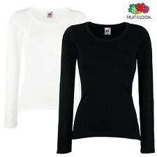 2 x Fruit Of The Loom LADY FIT T-SHIRT TOP LONG SLEEVES SLEEVE TSHIRTS 2 PACK