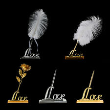 Luxury Romantic Signing Pen Rose Flower Feather Love Holder Wedding Favor Gifts