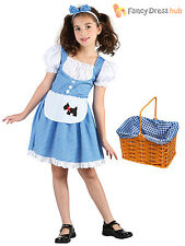 Girls Dorothy Costume + Basket Fairytale World Book Week Day Fancy Dress Outfit