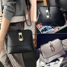 Fashion Korean Women Synthetic Leather Shoulder Small Bag Tote Weave WT88