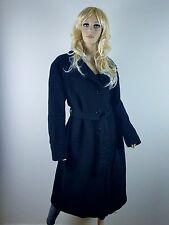 RARE MADE IN ITALY LAURA DONINI LINED TRENCH PEACOAT BLACK SIZE 54 WOOL CASHMERE