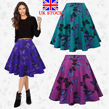 UK Ladies Vintage Womens Party High Waist Skater Flared Swing Pleated Midi Skirt