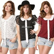 Women Plus Size Summer Casual Chiffon Shirt Polka Dot Doll Collar Blouse Top BF9
