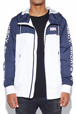 New KISS CHACEY Mens Division Hooded Spray Jacket Navy White
