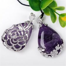 1pc Natural Amethyst Inlaid Teardrop Pendant Reiki Chakra Bead For Necklace Gift