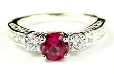 Created Ruby  w/CZ Accents, 925 Sterling Silver Engagement Ring, SR254-Handmade