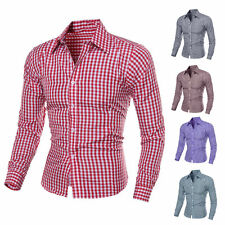 Stylish Tops Men's Luxury Long Sleeve Casual Check Shirt Slim Fit Dress Shirts d