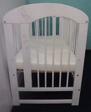 Solid Wood Baby Moon Sleep Cot + Deluxe Cot Mattress -3 Position Base Height