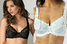 Ladies Under Wired Soft Cup Lace Bra Black   White Sizes 34 to 44 B C D DD