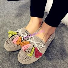 Womens Flats Loafers Slip On Retro Tassel Moccasin Faux Suede Pumps Shoes 2017