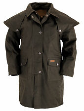 Outback Trading Co. Kid's Duster Boys Coat Brown Cotton Oilskin Waterproof